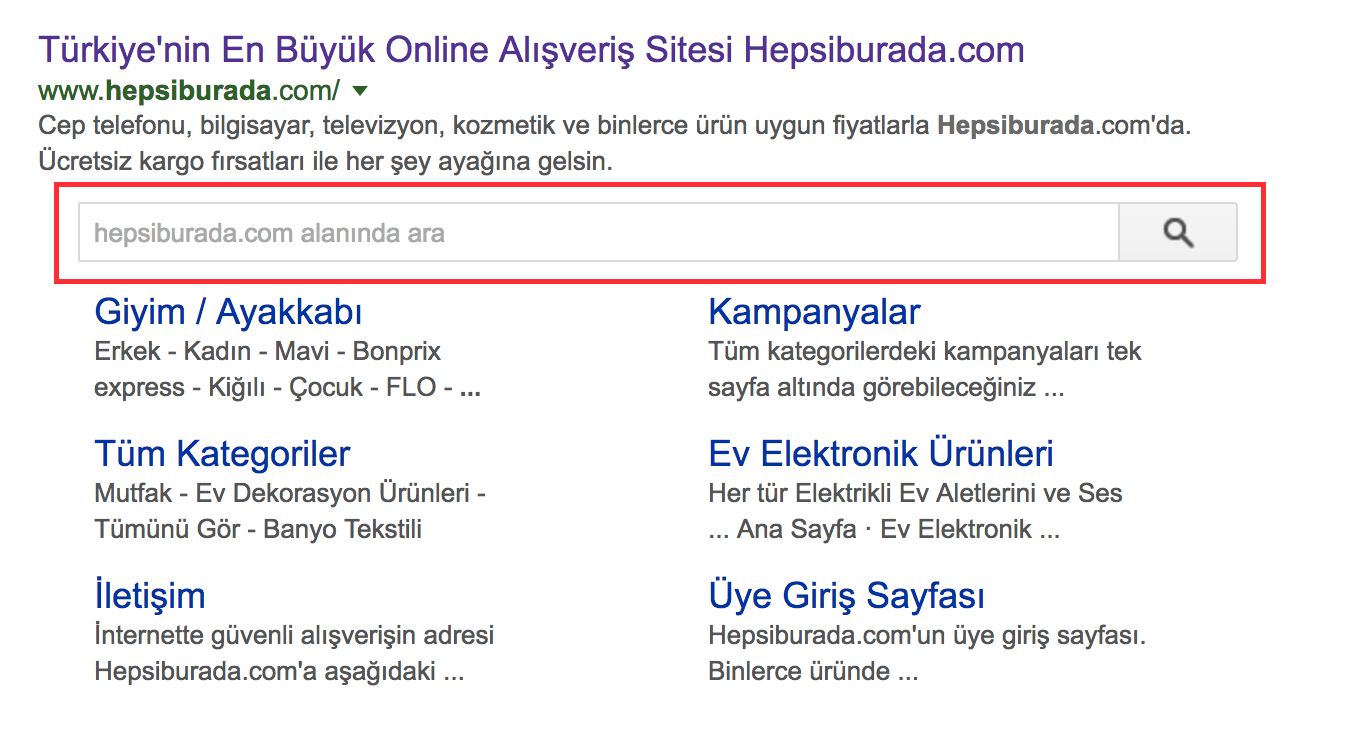 sitelinks search box nedir?