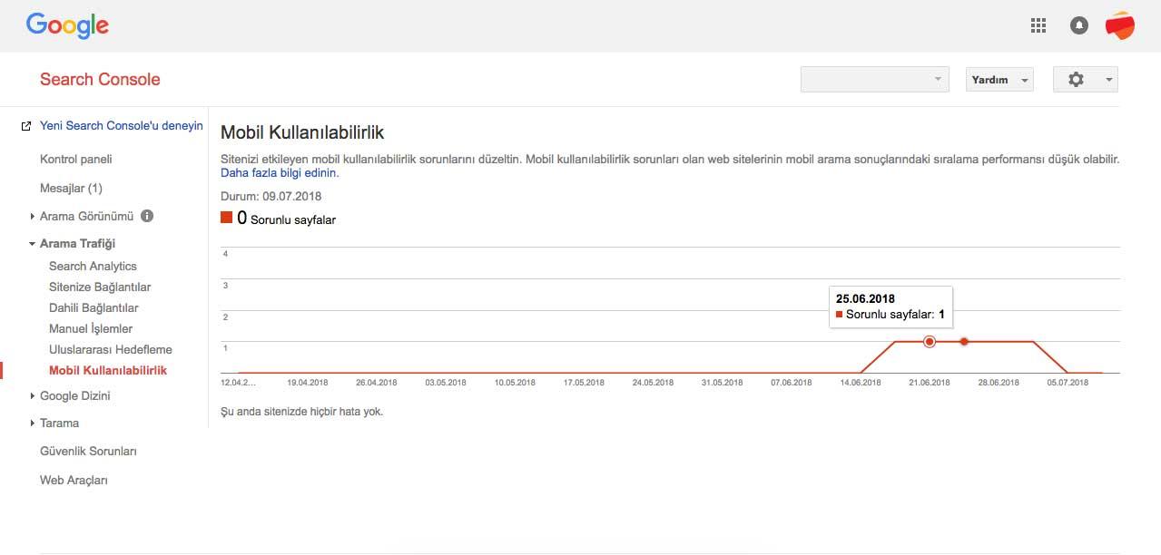 Google Search Console Mobil Kullanılabilirlik Ekranı