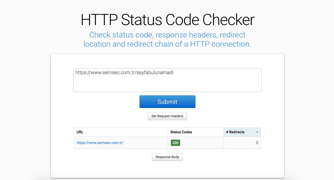 HTTP Status Code Checker 200 Yanıt Kodlu Bir 404 Sayfası