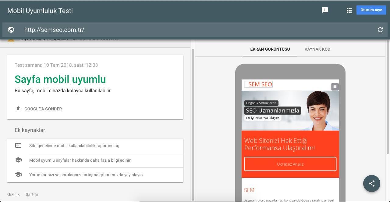 semseo.com.tr Mobil Uyumluluk Testi Sonucu