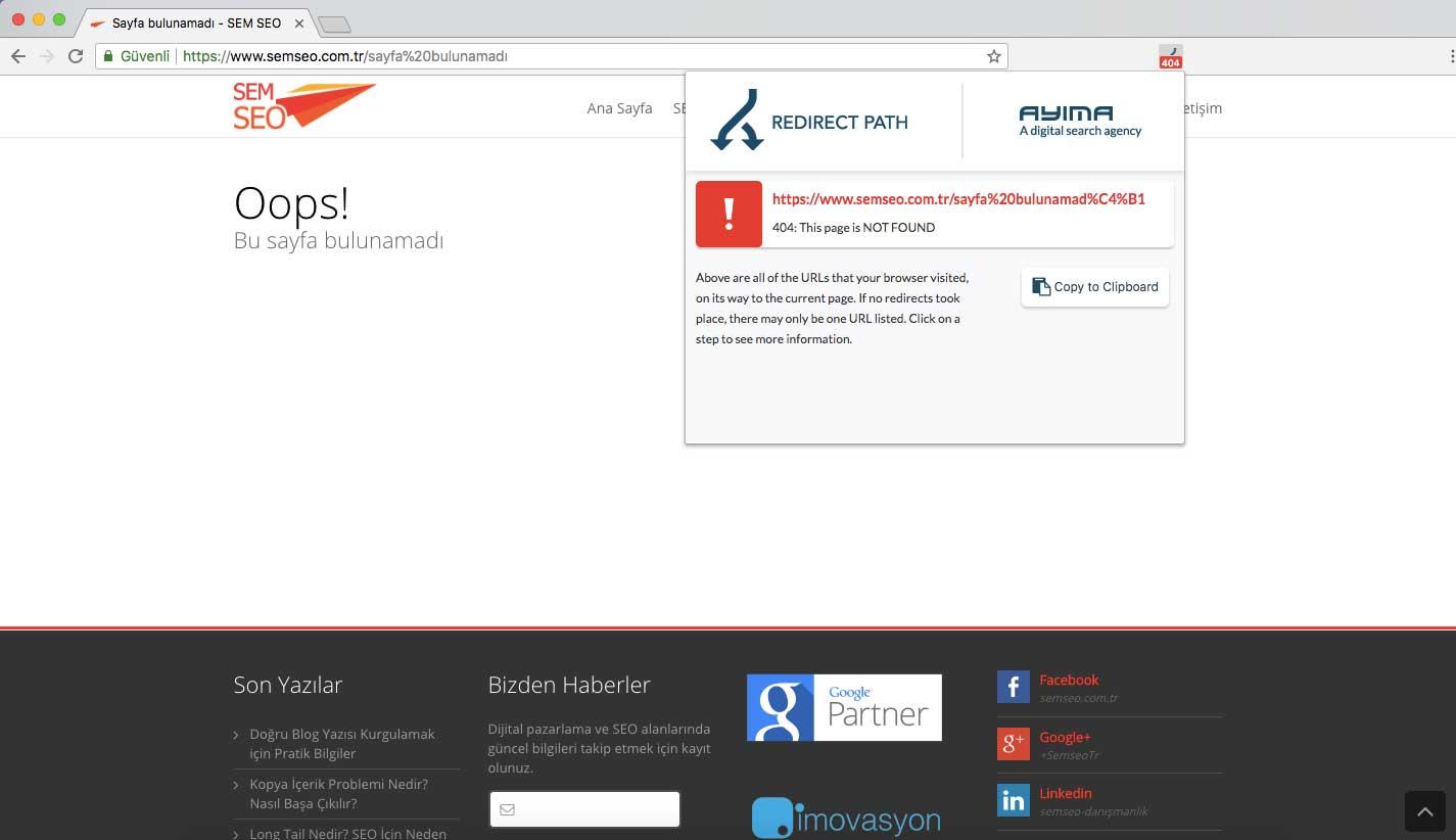 404 yanıt kodlu standart bir Sayfa Bulunamadı mesajı