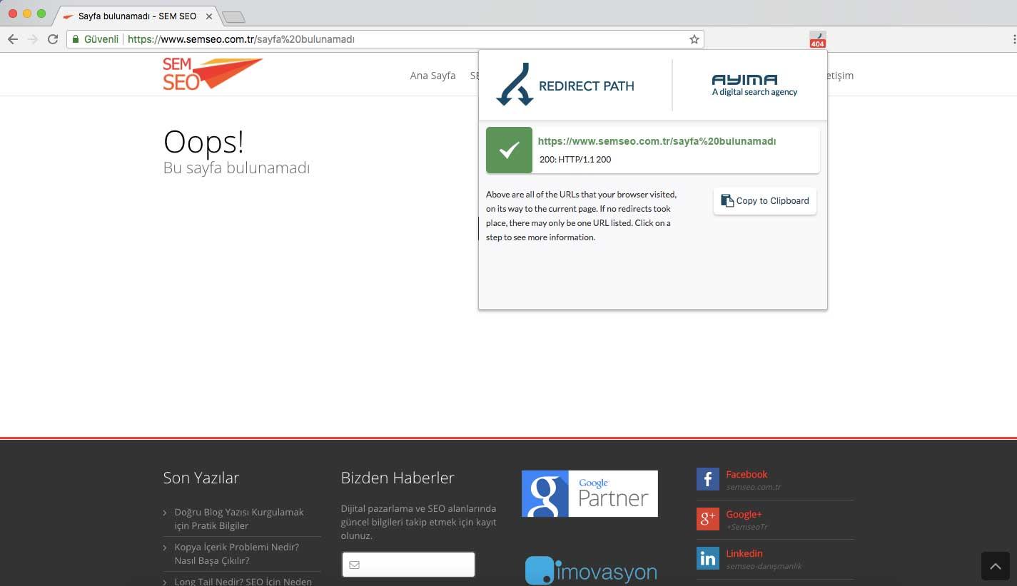 200 yanıt kodlu soft 404 hatası içerek bir sayfa