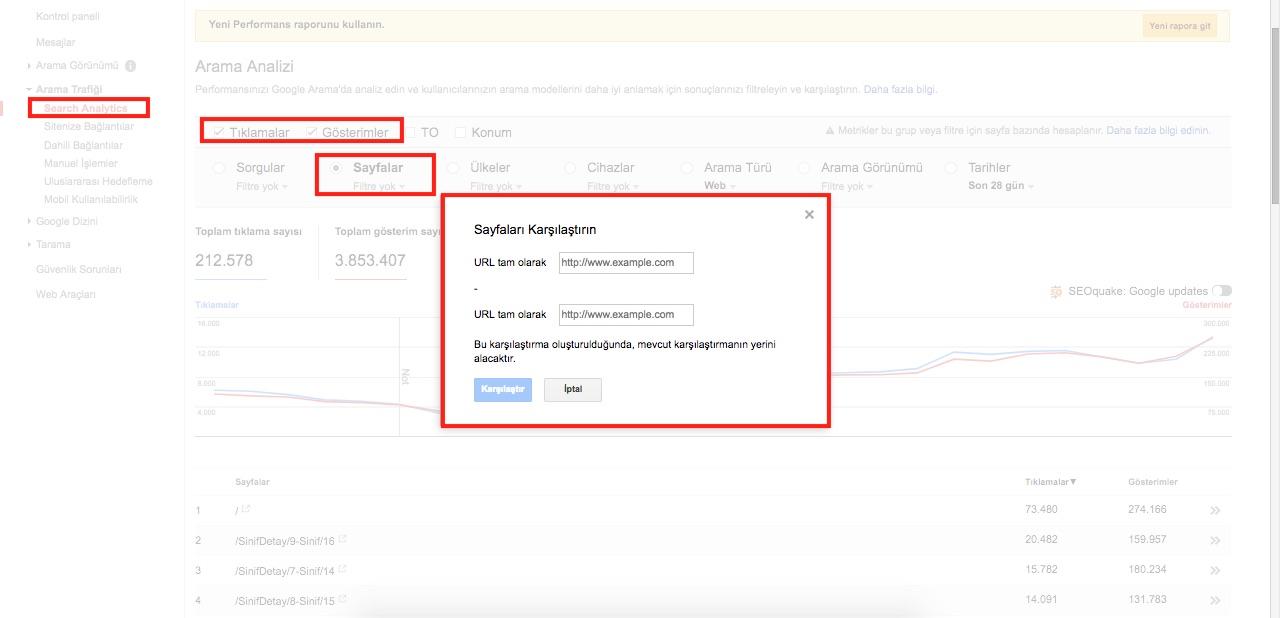Sıralama Yükseltme - Birleştirme Metodu Search Analytics URL karşılaştırma