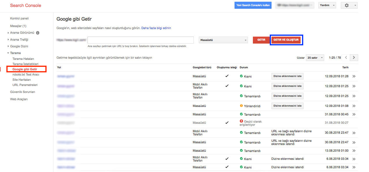 Search Console Kullanımı - Google gibi Getir - Getir ve Oluştur