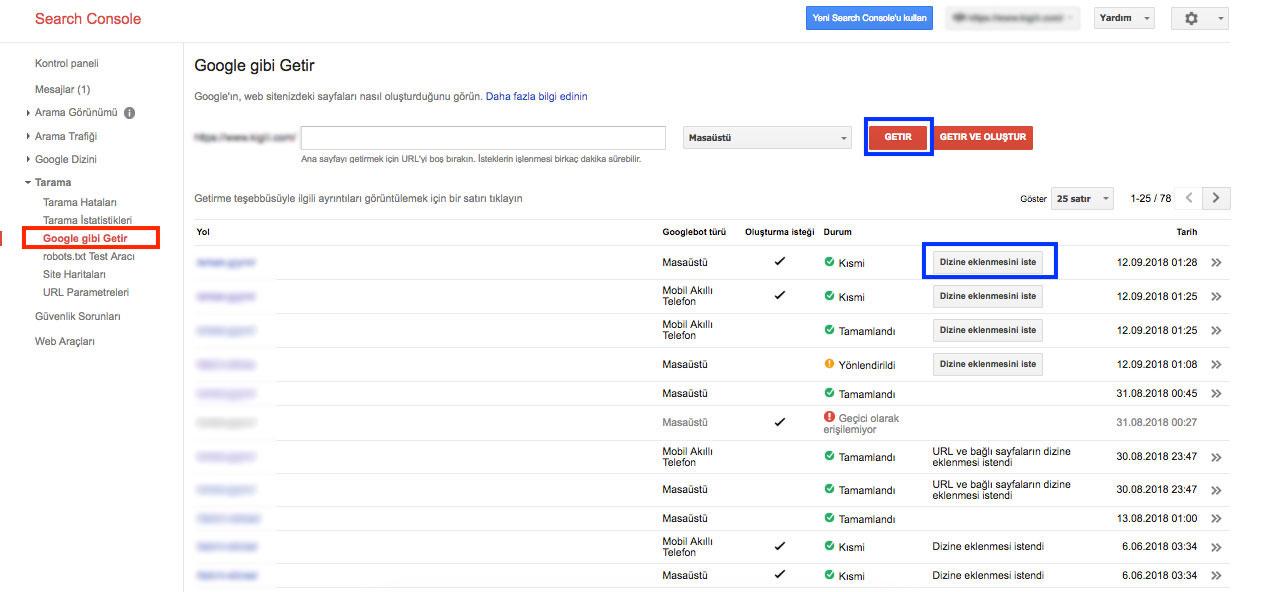Search Console Kullanımı - Google gibi Getir dizine ekleme isteği