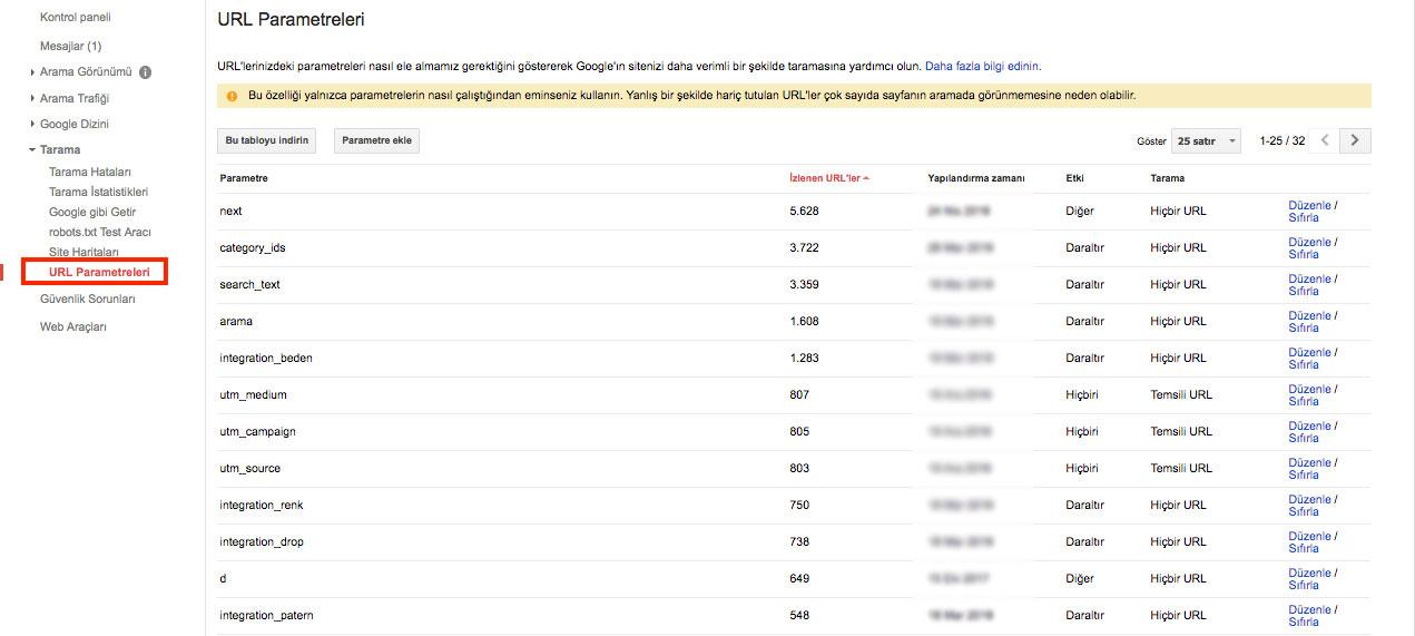 Search Console Kullanımı - URL Parametreleri