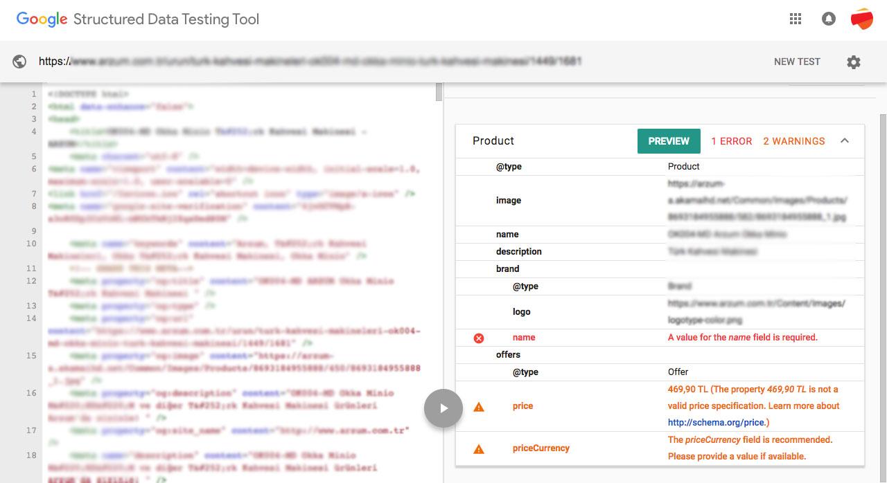 Search Console Kullanımı - Yapısal Veri Testi