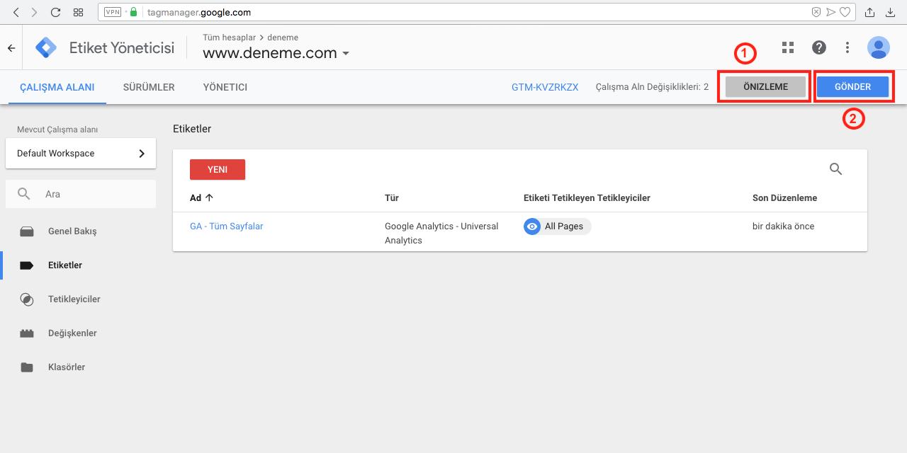 Google Tag Manager ile Googla Analytics Kurulumu - Etiket önizleme