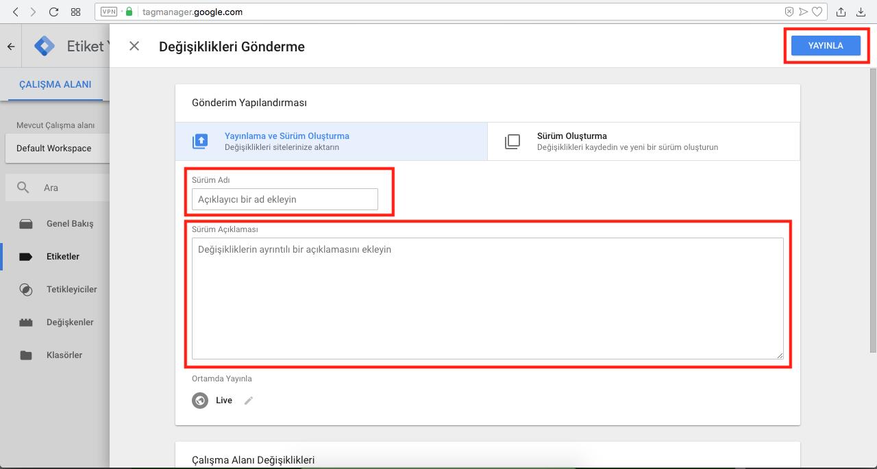 Google Tag Manager ile Googla Analytics Kurulumu - etiketi yayınlama işlemi