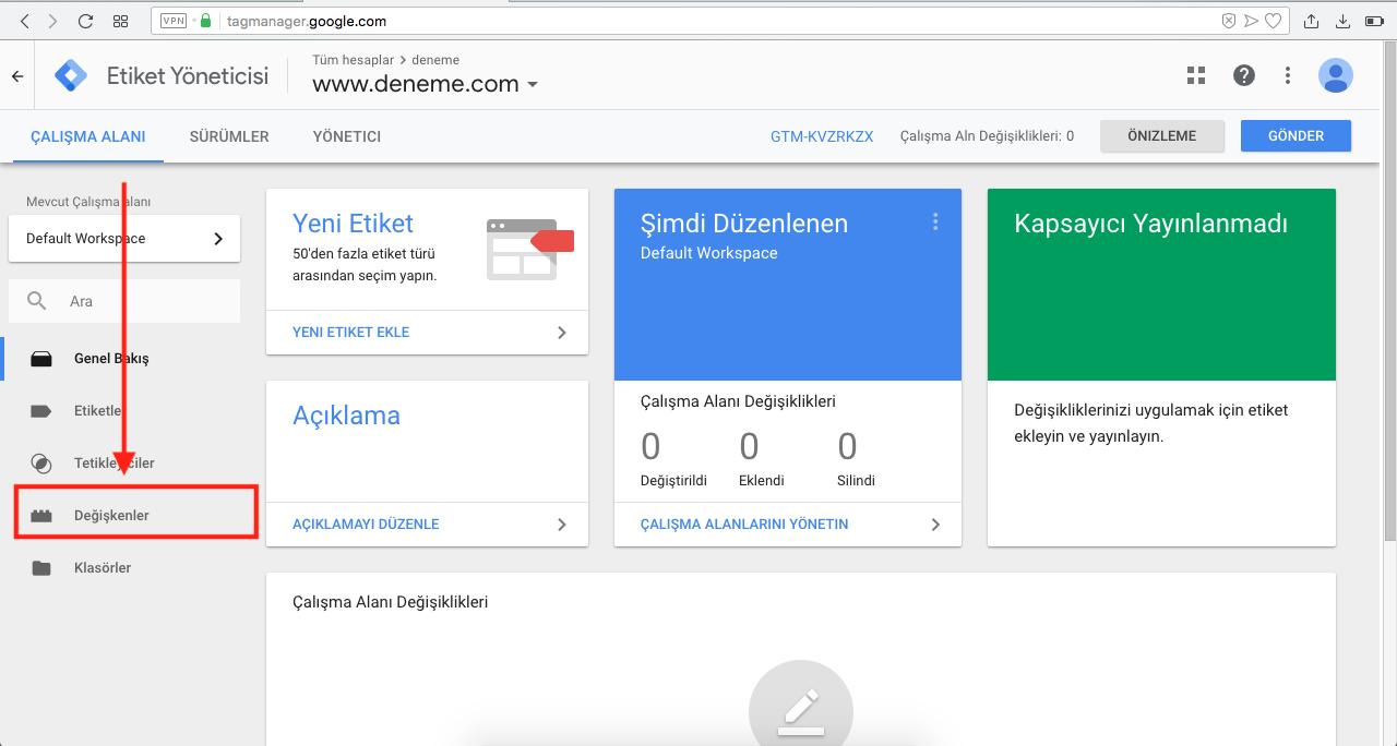 Google Tag Manager ile Google Analytics Kurulumu - Değişken tanımlama