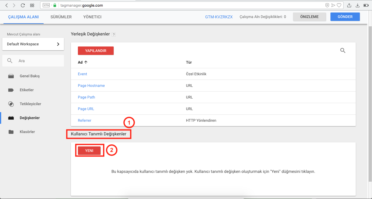 Google Tag Manager ile Google Analytics Kurulumu - kullanıcı tanımlı değişkenler