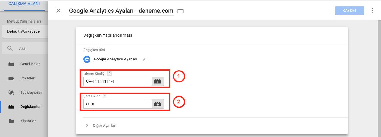 Google Tag Manager ile Googla Analytics Kurulumu - Google Analytics Settings