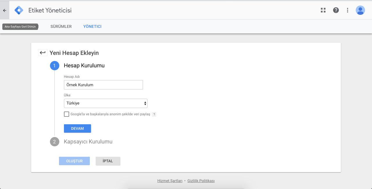Google Tag Manager Hesap Kurulumu