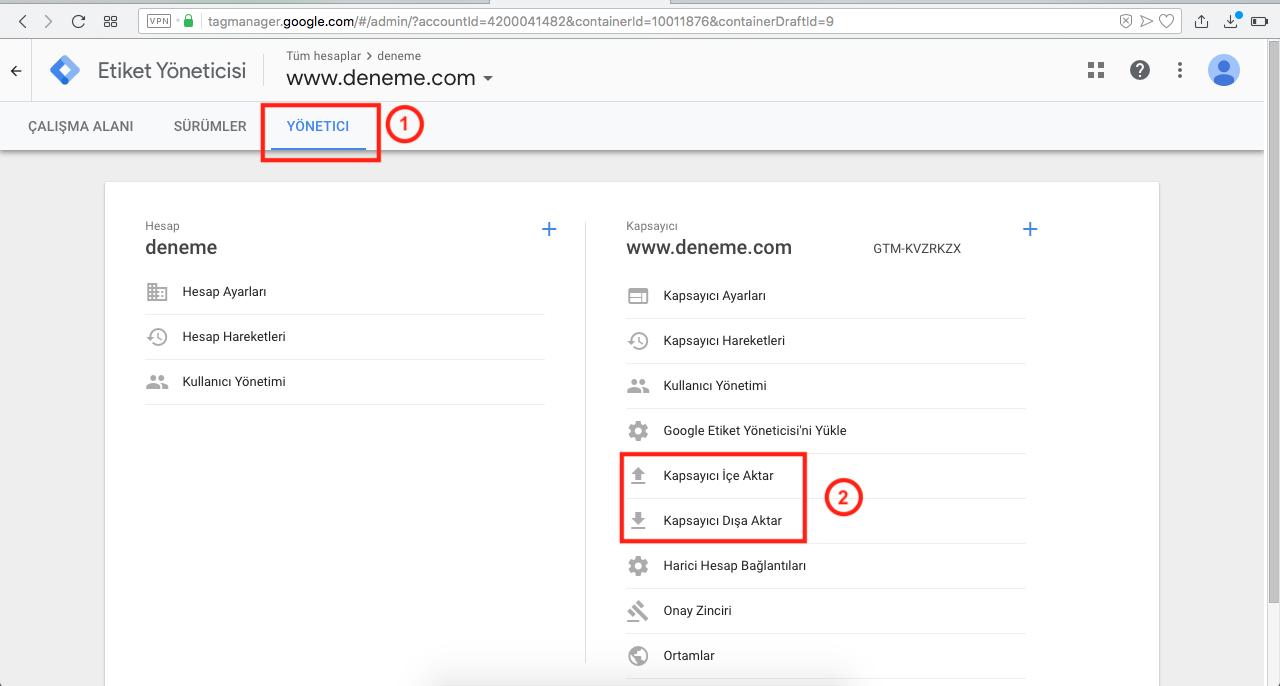 Google Tag Manager Yönetici Ayarları - Kapsayıcı Aktarma