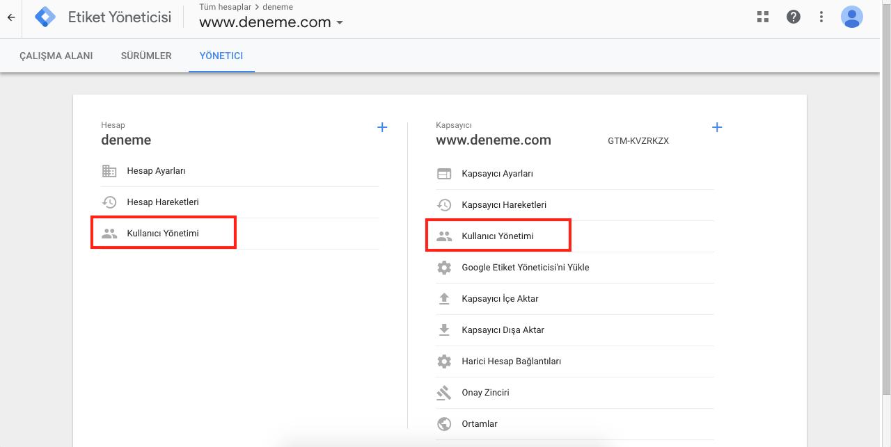 Google Tag Manager Kullanıcı İzinleri