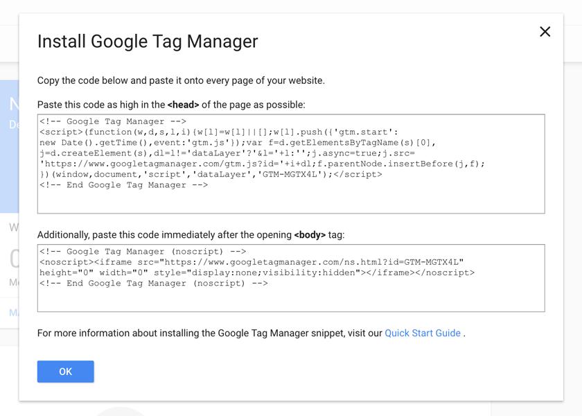 Google Tag Manager kurulum kodu