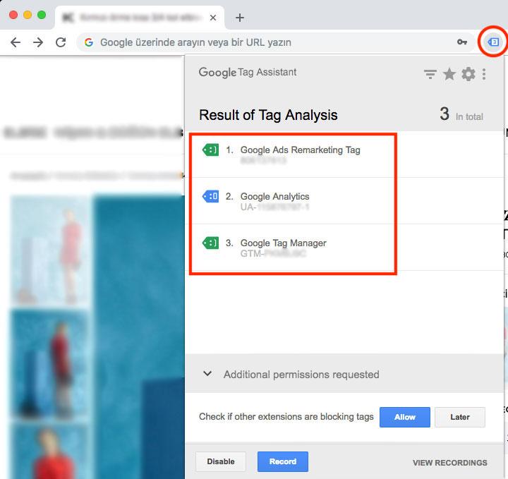 Google Tag Manager - Chrome için Tag Assistant
