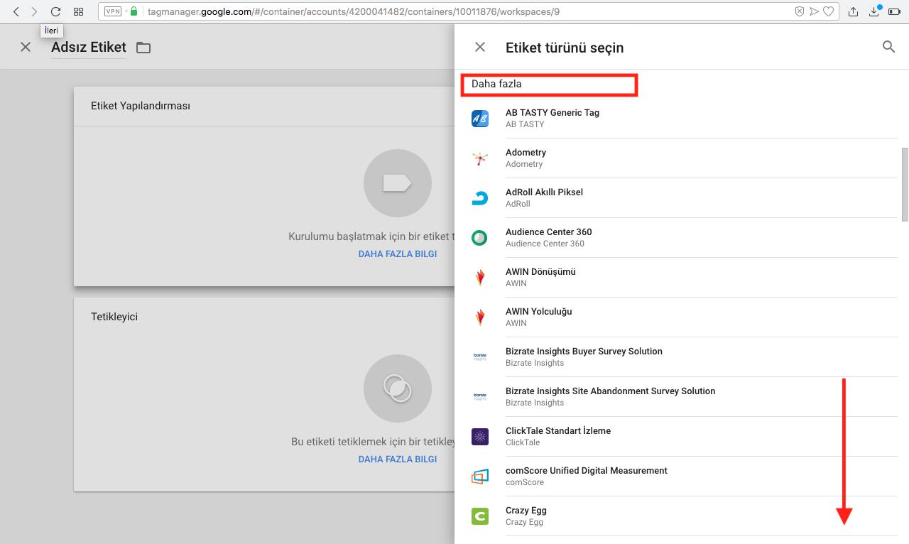 Google Tag Manager Etiket Türleri