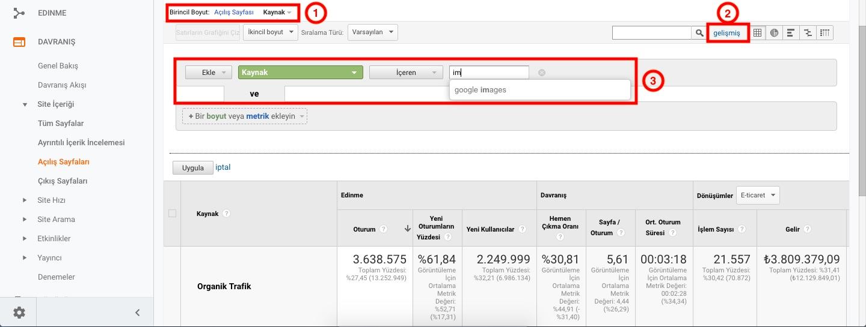Google Analytics Görsel Arama Trafiği