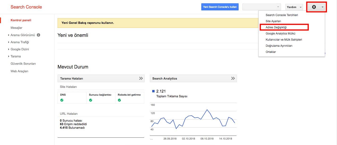 Google Search Console - Adres Değişikliği