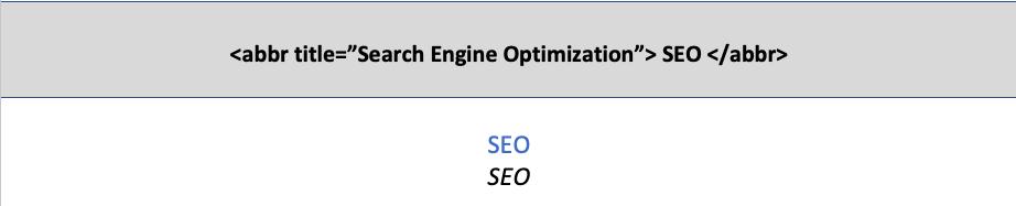 HTML5 abbr etiketinin kullanımı