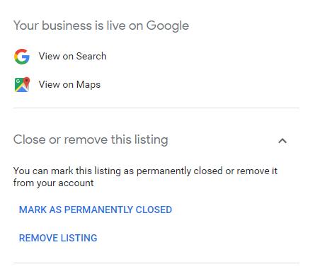 Google My Business kapalı işletme bildirme ekranı