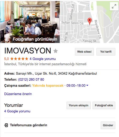 Imovasyon SEMSEO Google My Business Bilgi Paneli