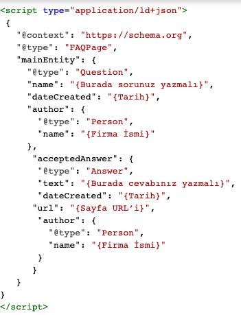FAQ Yapısal Veri İşaretlemesi JSON
